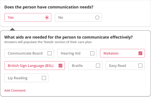risk assessment interface