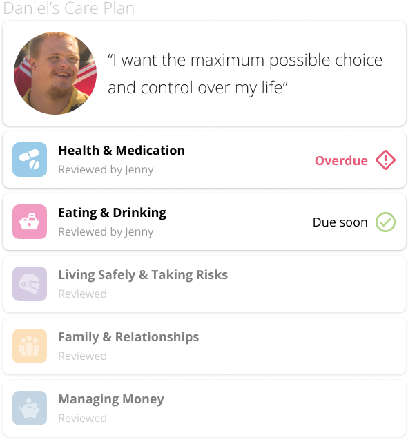 Care plans module interface