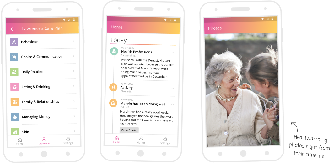 screenshots of family care platform on phones