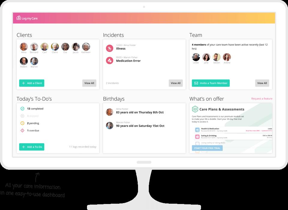 live-in care software on a desktop